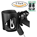 Stroller Cup Holder Universal + 2 Stroller Hooks,360 Degrees Universal Rotation Cup Drink Holder Fits All Strollers,Wheelchair,Bike