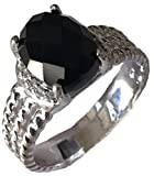 GEMPARA Designer Inspired Twisted Cable 10x8mm Black Onyx Cushion Ring Size 9 (7)