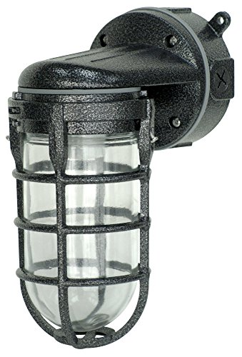 - Woods L1707SVBLK Wall Mount Light in Hammered Black Finish Sturdy Die Cast Aluminum Cage, 100 Watt Incandescent, Industrial Design, Suitable for Indoor and Outdoor Use