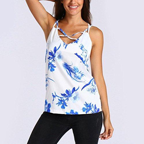 Et Impression Gilet V Chemisier Cou T Manches Shirt Sans Mode Dbardeur Sexyville Blanc Femmes Creux Florale Traverser F6pz1vFwnq
