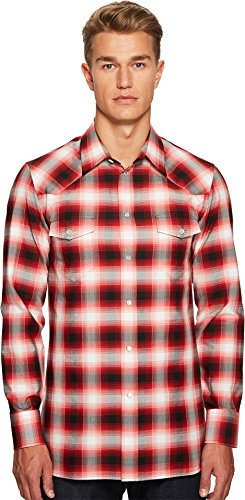Marc Jacobs Mens Dusty Check Western Shirt Red Combo 54 (US 44) One - Marc Jacobs Shirts Men