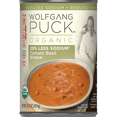 - Wolfgang Puck Organic 25% Less Sodium Tomato Basil Bisque, 14.5 oz. Can