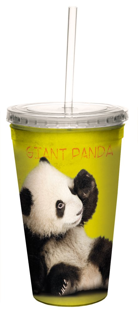 Giant Panda Double-Walled Cool Travel Cup with Reusable Straw, 16-Ounce - Cute Gift for Panda Bear and Animal Lovers - Tree-Free Greetings 35799