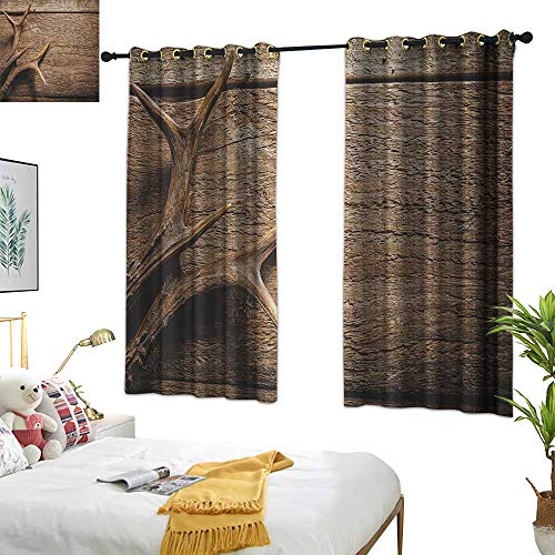 Warm Family Room Curtains Antlers,Deer Antlers on Wood Table Rustic Texture Surface Hunting Season Fall Gathering Art, Umber 84