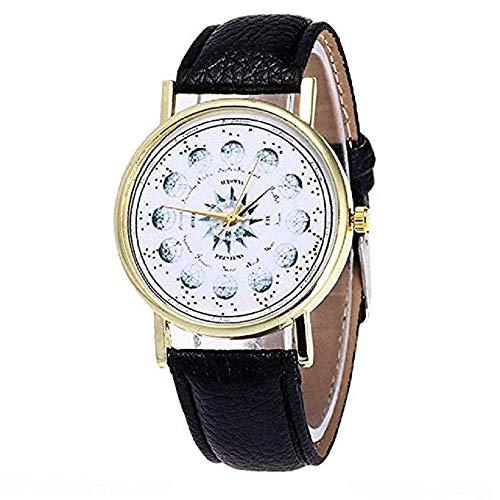 (FAVOT 2019 New Women Geneva Watch Solar System Planetary Scale Totem Soft Leather Student Casual Wrist Watch (Black))