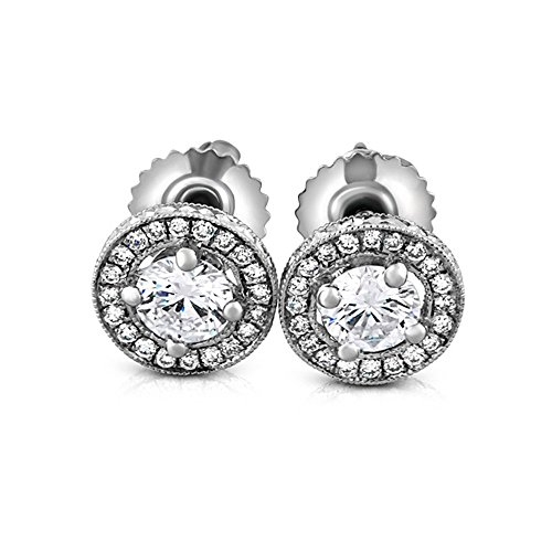 0.55CT Hand Engraved Diamond 14K White Gold Pave Set Diamond Post And Screw Back Antique Style Earrings ()