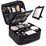 TOPSEFU Makeup Bag,Quick Make up Bag with Mirror,Makeup Case Cosmetic Case makeup Organizer Makeup Train Case with Adjustable Dividers for Cosmetics Makeup Brushes Toiletry Jewelry Digital Accessories