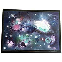 Abstract Galaxy Art on Wood - Rectangle - Wall Art - Blue, Black, Space