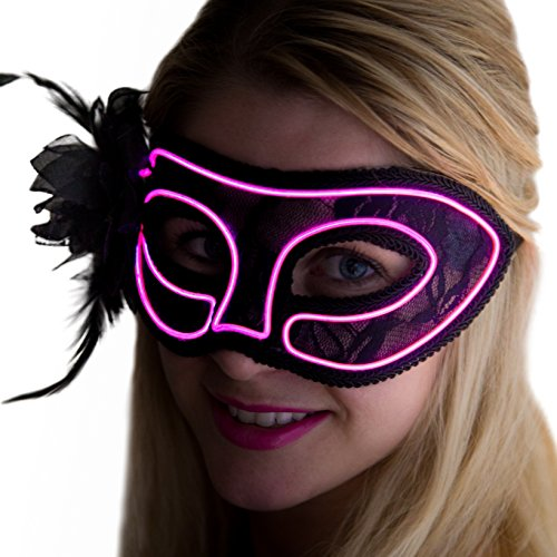 NEON NIGHTLIFE Women's Light Up Venetian Sexy Mardi Gras mask | Adult Masks for Party | Antifaz Couples Mask