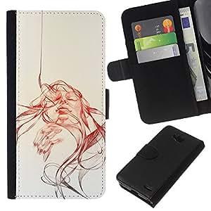 YiPhone /// Tirón de la caja Cartera de cuero con ranuras para tarjetas - Abstract Girl - Pop Art - LG OPTIMUS L90
