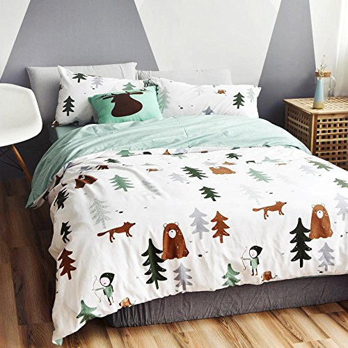 BuLuTu Siberia Forest Theme Cotton US Queen Kids Bedding Collections(1 Duvet Cover 2 Pillowcases) Darker White Boy Duvet Cover Sets Zipper,Love Gifts for Him,Boys,Teen,Child,Friend,Family,No Comforter (Boys Queen Quilt Bedding)
