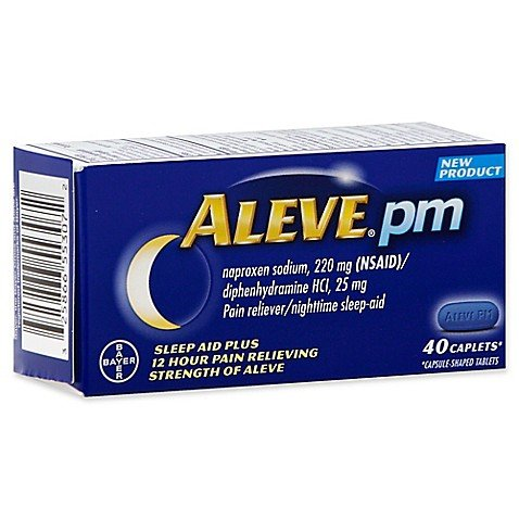Aleve PM Caplets with Naproxen Sodium, 220mg (NSAID) Pain Reliever/Fever Reducer/Sleep Aid, 40 Count - 2 Packs