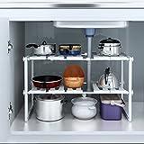 YOMYM 2 Tier Under Sink Storage Shelf Storage Organizer Kitchen Cabinet