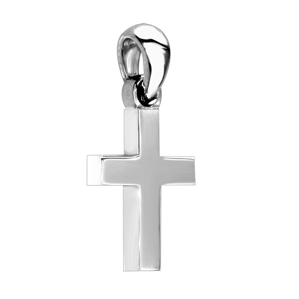 13mm in Sterling Silver Small Solid Plain Cross Charm