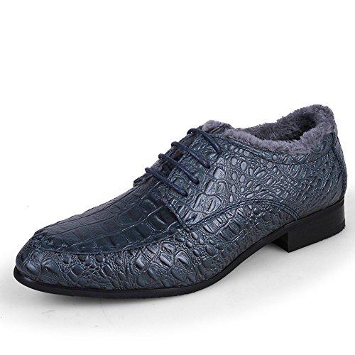 DeLamode Männer 50 Plus Size Schuhe Echtes Echtes Leder Krokodil Kleid Alligator Blau mit Pelz