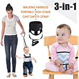 Umin 3-in-1 Portable/ Travel High Chair + Toddler Safety Walking Harness + Shopping Cart Safety Strap,Lightweight & Washable,Black