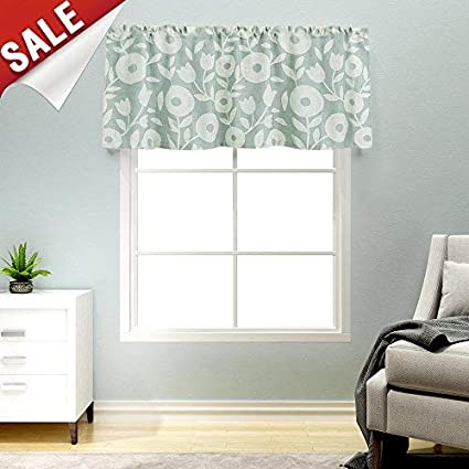 Kitchen Valances For Windows Linen Textured Valance Curtains Rod Pocket  Rustic Floral Printed Valances Window Treatments