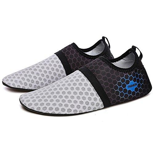 YIRUIYA Frauen Männer Quick-Dry Barfuß Wasser Schuhe Haut Aqua Socken Mit Entwässerung Löcher ¡ Grau-neu