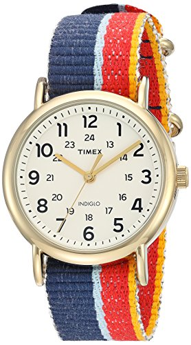 - Timex Weekender | Red/Blue Slip-Through Strap 24-Hour | Casual Watch TW2R10100