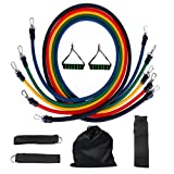AZLife 11 Pcs Resistance Bands Set, Workout Exercise Pilates Yoga Crossfit Fitness Bands GYM Stretch Tubes with 5 Exercise Bands, 2 Handles, 2 Ankle Straps, Door Anchor, Carry Bag