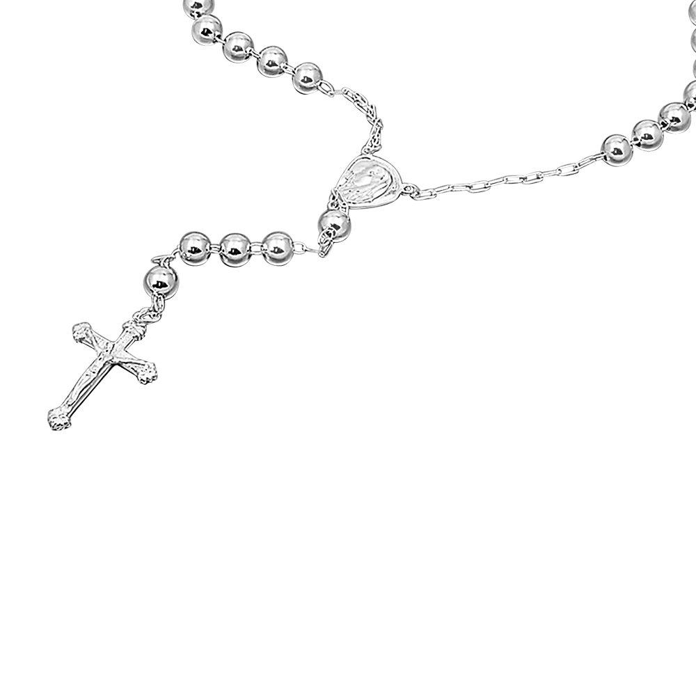 Double Accent Sterling Silver Rosary Necklace 8mm Bead Cross Pendant Rosary Chain (26, 28, 30 Inches)