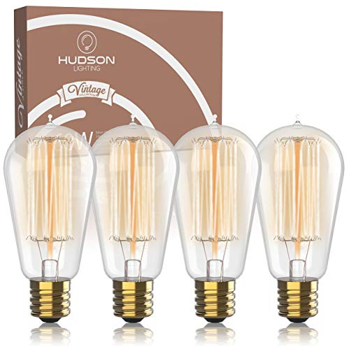 (Vintage Incandescent Edison Bulb Set: 60 Watt, 2100K Warm White Edison Light Bulbs - E26 Base - 230 Lumens - Clear Glass - Dimmable Antique Exposed Filament - ST58 Decorative Lightbulbs - 4 Pack)