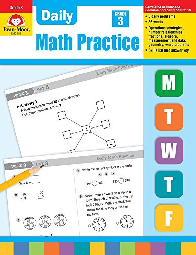 Evan-Moor Daily Math Practice, Grade 3 - Teacher's Edition, 36 Weeks of Math Activities for Third Graders