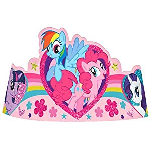 """Charming My Little Pony Friendship Paper Tiara Birthday Party Wearable Favours  (8 Pack), Pink, 7""""."""