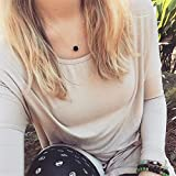 VWH Women Lava Stone Shaped Necklace Clavicle Bone Chain Necklace (Round)