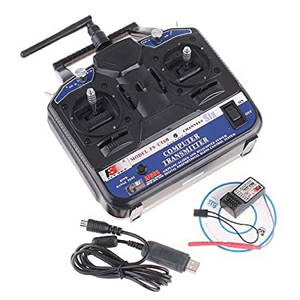 2 4G FS-CT6B 6 CH Radio Model RC Transmitter & Receiver PPM/GFSK  Heli/Airplane/Glid 12V DC