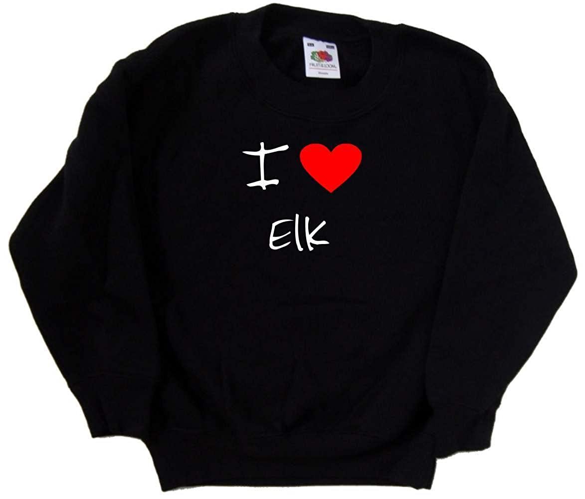 I Love Heart Elk Black Kids Sweatshirt