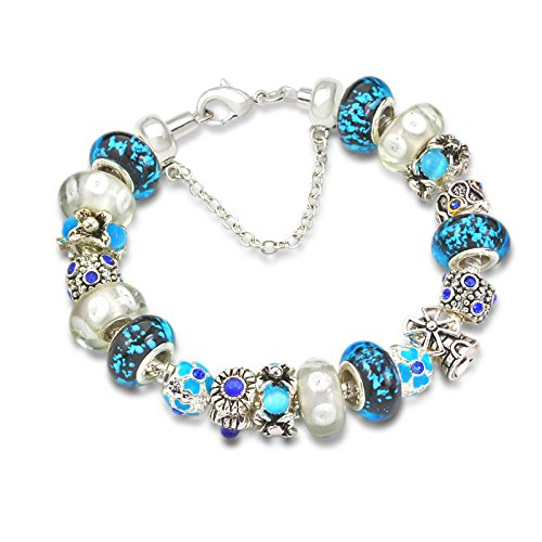 (7.8inch/20cm) Fashion Style Purple Glass Beads Charm Beaded Complete Silver-Tone Bracelets