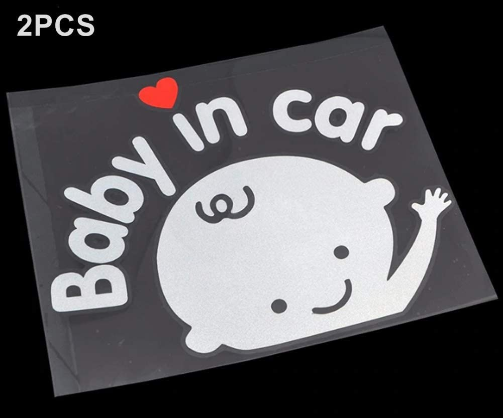 Baby in Car Waving Sticker Baby on Board Sign for Car,Kids in car Decal Sticker Safety Sign Cute Car Decal Vinyl Car Sticker