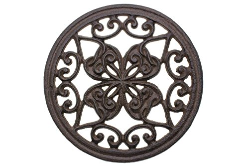 "Cast Iron Round Trivet with Vintage Pattern - Decorative Cast Iron Trivet For Rustic Kitchen Or Dining Table - 7"" Diameter - With Rubber Pegs - Rustic Decor by Comfify"