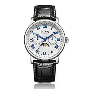 Rotary Men's Quartz Watch with Silver Dial Chronograph Display and Black Leather Strap GS00340/21