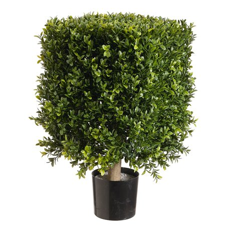 1'9'' Boxwood Square-Shaped Artificial Topiary w/Pot Indoor/Outdoor