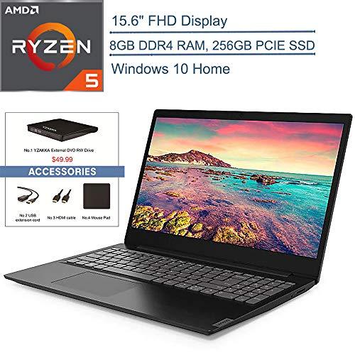 2020 Lenovo IdeaPad S145 15.6″ FHD Laptop Computer, AMD Ryzen 5 3500U Quad-Core Up to 3.7GHz (Beats I7-7500U), 8GB DDR4 RAM, 256GB PCIe SSD, AC WiFi, Windows 10, YZAKKA USB External DVD + Accessories