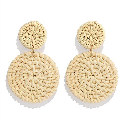 Weave Straw Double Disc Drop Earrings Boho Rattan Dangle Statement Earrings (light disk)