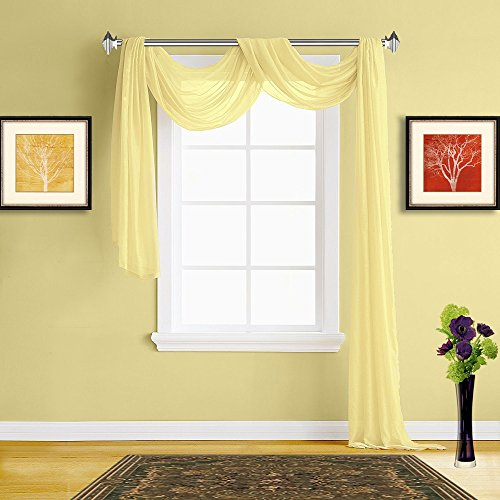 Warm Home Designs Extra Long Light Yellow Sheer Window Scarf. All Premium Valance Scarves are 54 X 216 Inches in Size and are Great Window Toppers for Any Room in Your House. Color K Yellow 216""