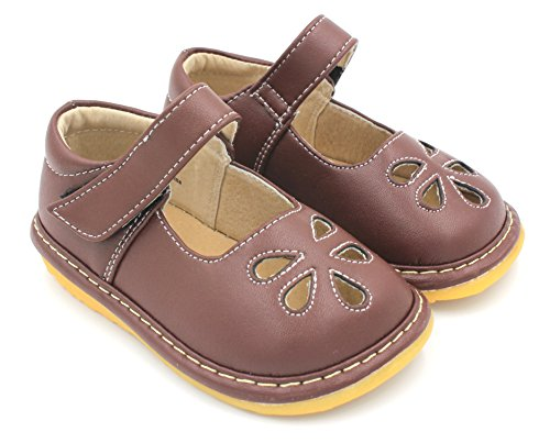 Little Mae's Boutique Toddler Shoes | Squeaky Brown Flower Punch Mary Jane Toddler Girl Shoes (6) by Little Mae's Boutique (Image #3)