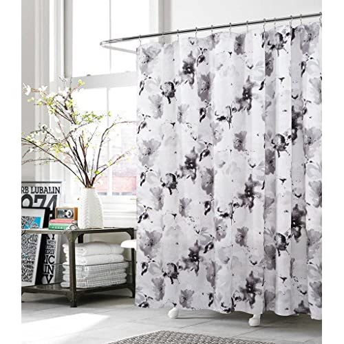 Discount Kensie Fabric Shower Curtain Grey White Floral Watercolor Modern Art for cheap