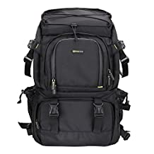 Evecase Extra Large DSLR Camera & Laptop Travel Backpack Gadget Bag w/ Rain Cover for Nikon, Canon, FujiFilm, Olympus, Samsung, Panasonic, Pentax, Ricoh, JVC and More Digital SLR Camera - Black