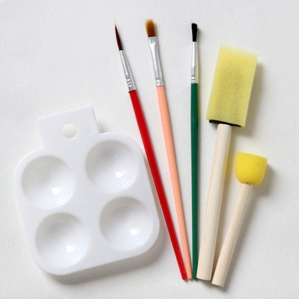 Toyvian 15 Conjunto de Arte para Ni/ños Conjunto de Pintura Acr/ílica con Pinceles de Arte Pinceles de Esponja Conjunto de Paleta de Pintura para Ni/ños Ni/ños Peque/ños