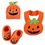 Carter's Halloween Baby Costumes-Pumpkin Booties - Terry Bib & Beanie 0 -3 Mths