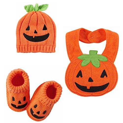 [Carter's Halloween Baby Costumes-Pumpkin Booties,Terry Bib & Beanie 0 -3 Mths] (Cute Halloween Costumes For Newborn Babies)