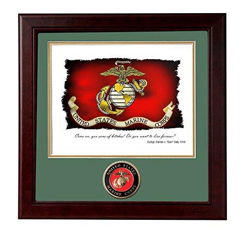 Brotherhood US Marine GySgt. Dan Daly Quote - Wood Frame with Marine Emblem Forever Emblem