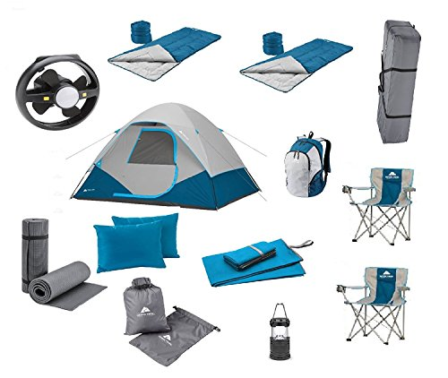 Camping Equipment Family Cabin Tent Sleeping Bag Chairs Hiking Gear included (Sleeps 6/28 (10' Through Wall Fan)