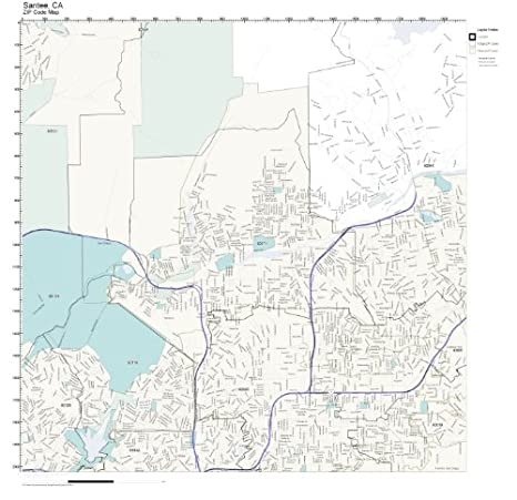 Amazon.com: ZIP Code Wall Map of Santee, CA ZIP Code Map Not ...