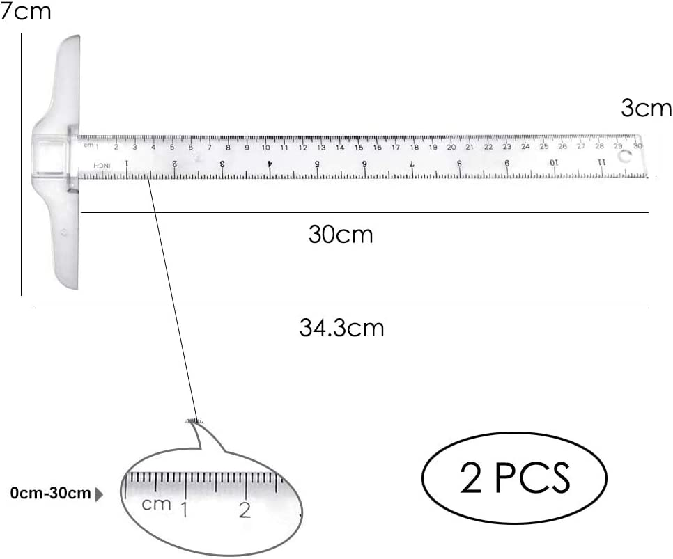 30cm 2Pcs T-Square T Shape Metric Ruler Plastic Transparent T-Ruler Double Side Scale Measuring Tool for Drawing and General Layout Work