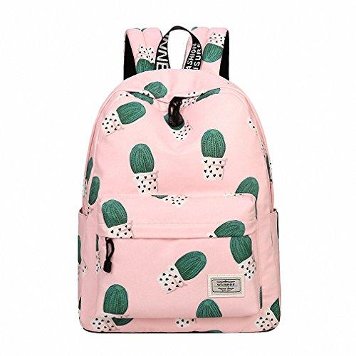 Women Backpack Travel Cactus Printing Multi-Functional Shoulder Knapsacks For Teenager Girls School Bags Feminina Bolsas Mochila Pink